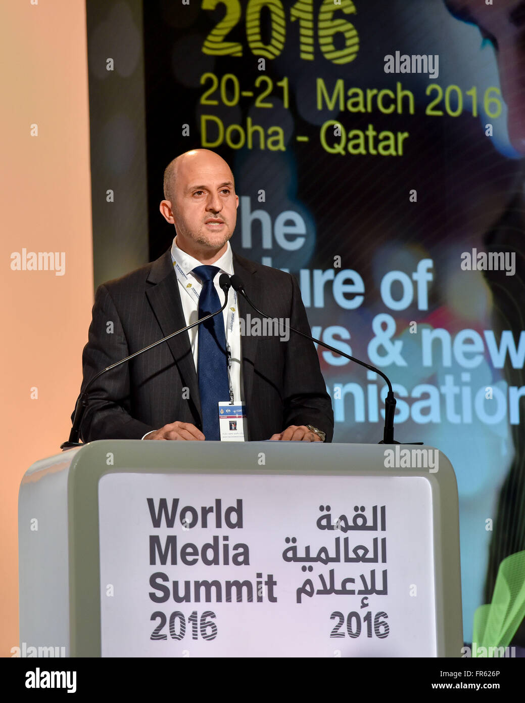 Doha, Qatar. 21st Mar, 2016. Arafat Shoukri, Manager of the Executive Committee of the World Media Summit Doha, Stock Photo
