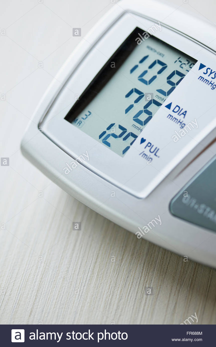 closeup of readout from blood pressure monitor - Stock Image
