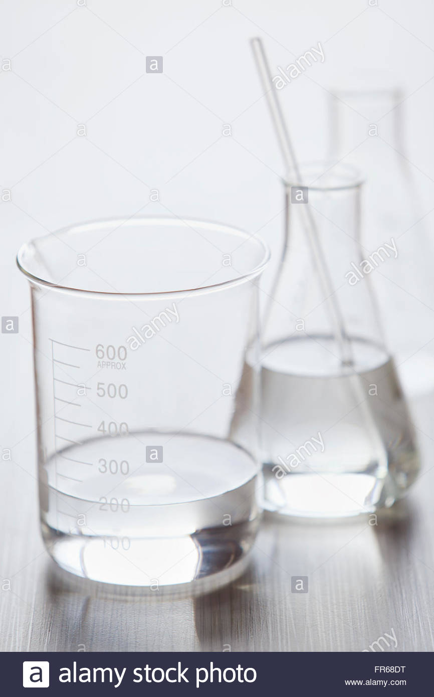 medical still of laboratory glassware - Stock Image