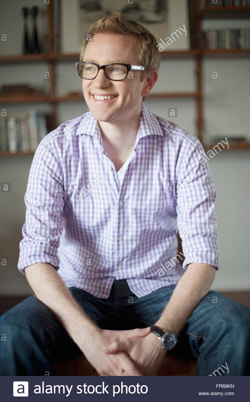 portrait of stylish man at home - Stock Image
