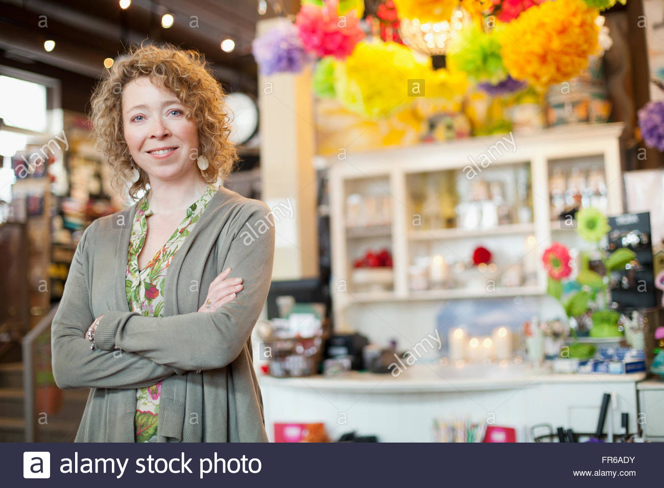 owner of stationery store Stock Photo