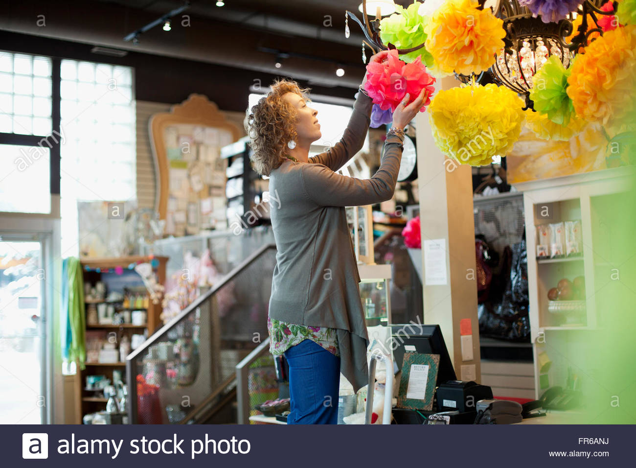 owner of stationery store doing some propping Stock Photo