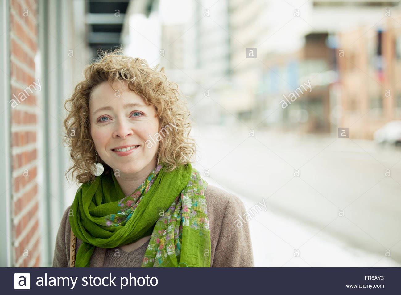 middle-aged woman out for a brisk walk - Stock Image