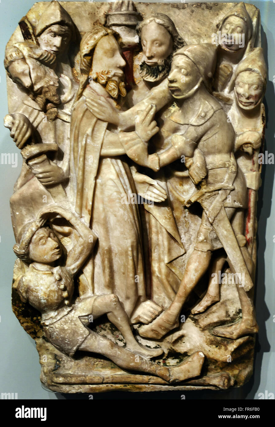 The Passion of the Christ ( Taking of Christ )  XV th Century English Nottingham England (polychrome alabaster bas - Stock Image
