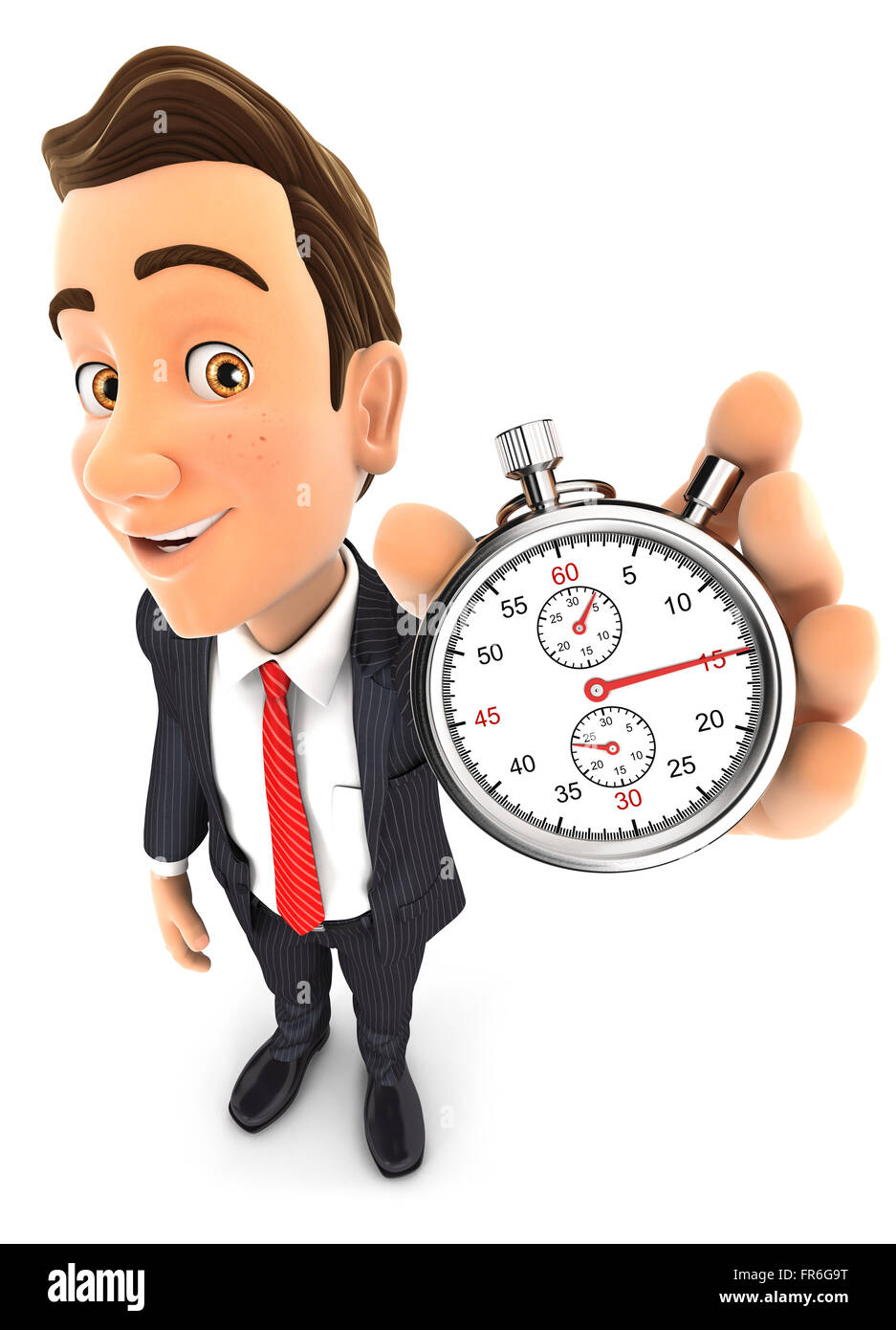 3d businessman holding a stopwatch, isolated white background Stock Photo