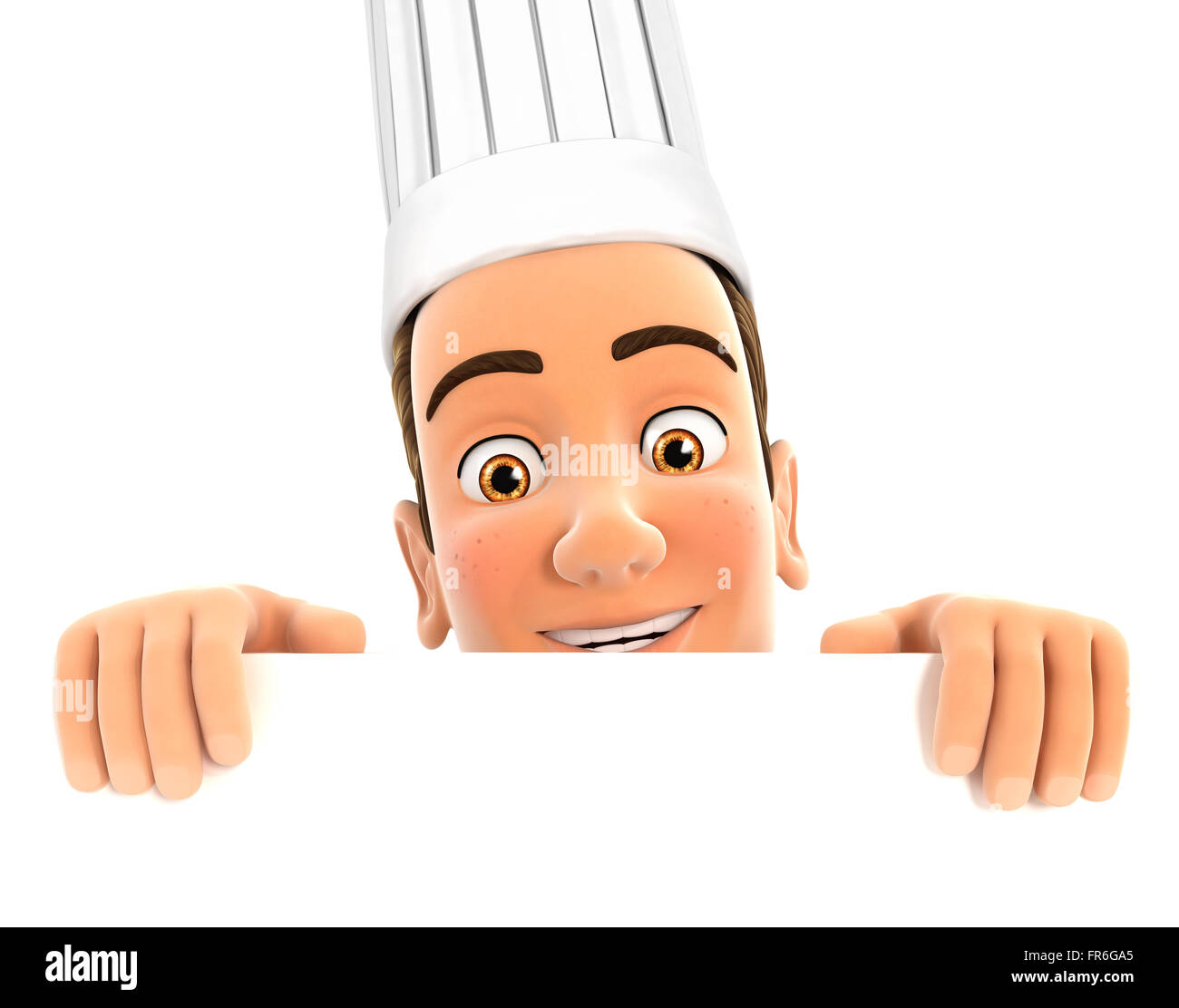 3d head chef hiding behind white wall, isolated white background Stock Photo