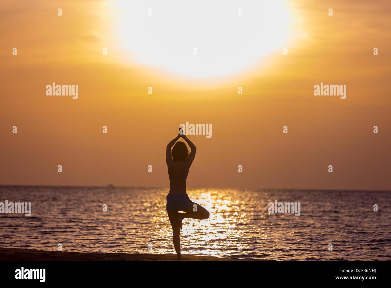 Young woman doing sport practice at seashore in warm summer sunlight, standing in asana vriksasana (Tree Pose), Stock Photo