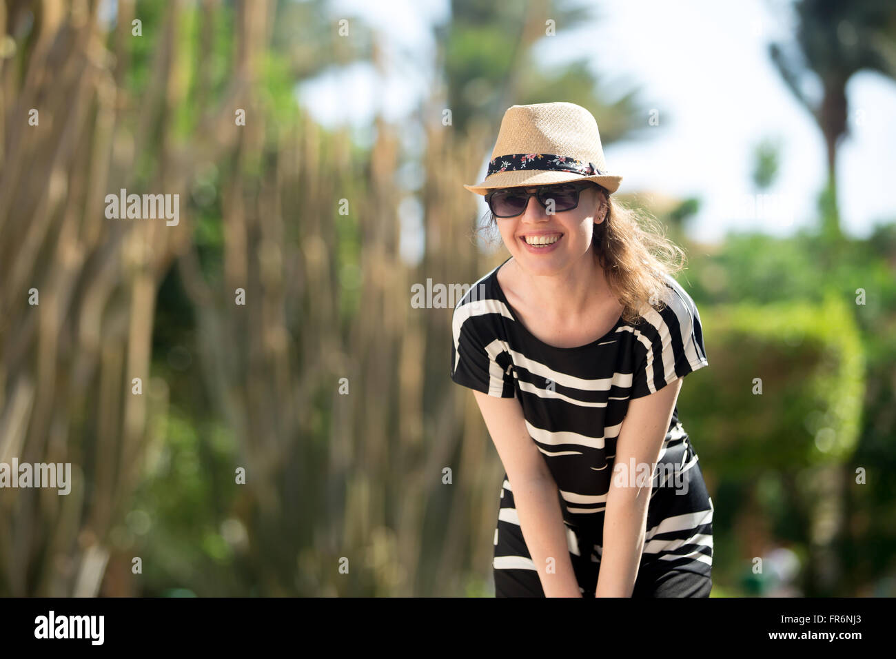 Charming Woman In Summer Clothes Straw Hat Stock Image Of Blue Curly