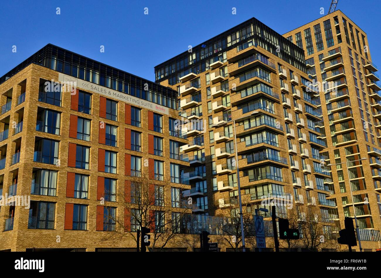 The new Berkeley Homes apartment development in Royal Arsenal, Woolwich, London, England, UK - Stock Image