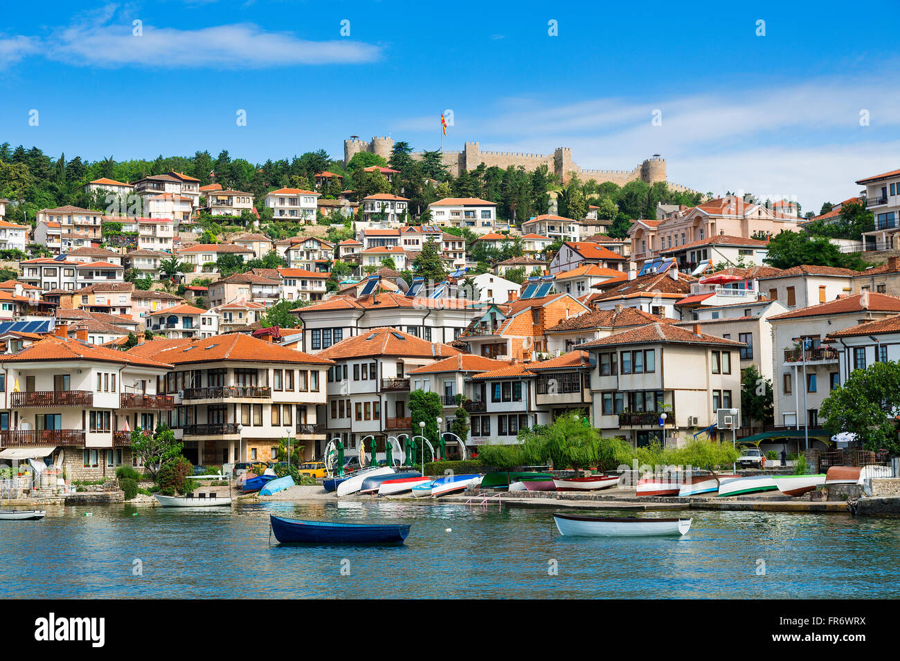 Republic of Macedonia, Ohrid, listed as World Heritage by UNESCO city center by the lake Stock Photo