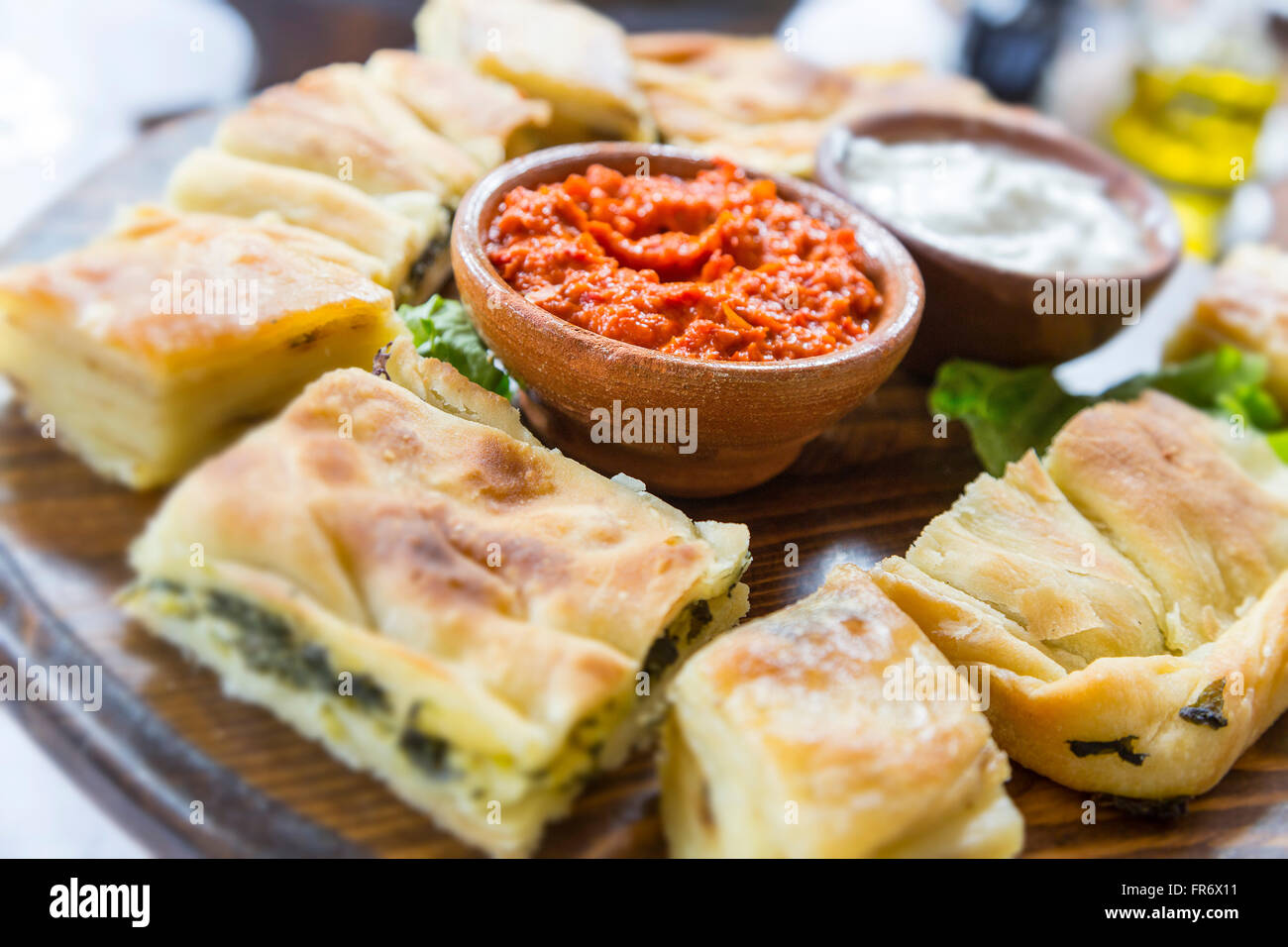 Republic of Macedonia, Ohrid, listed as World Heritage by UNESCO Site, traditional dish - Stock Image