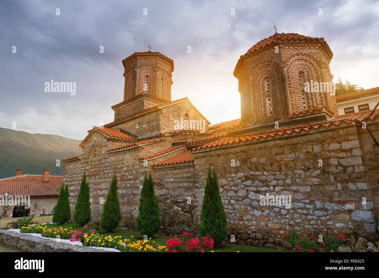 Republic of Macedonia, Ohrid, listed as World Heritage by UNESCO Site, the monastery St Naum Stock Photo