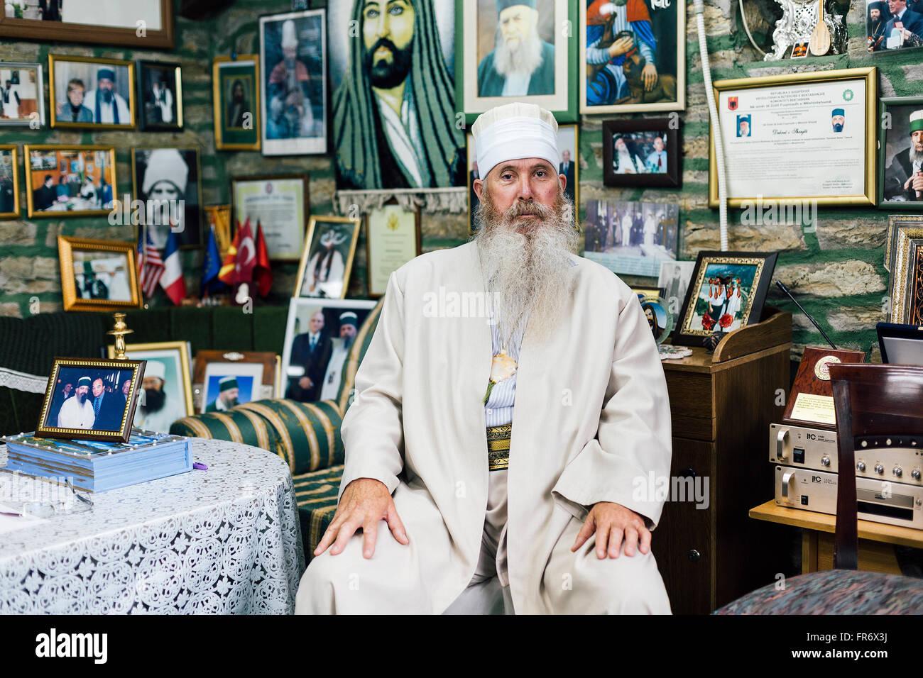 Republic of Macedonia, Tetovo, Portrait of the Dervish Muttalib from Tetovo sufism communauty - Stock Image