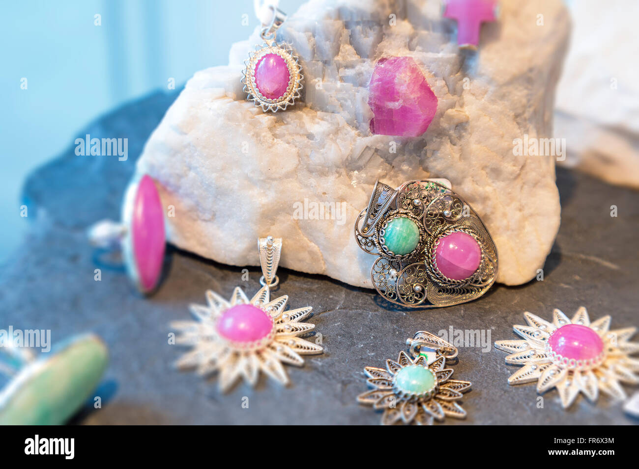 republic of Macedonia, Skopje, Pink ruby from Macedonia - Stock Image
