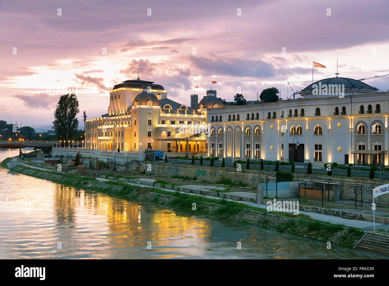 Republic of Macedonia, Skopje, district Carsija, Karpos square, the Macedonian Opera and Ballet - Stock Image