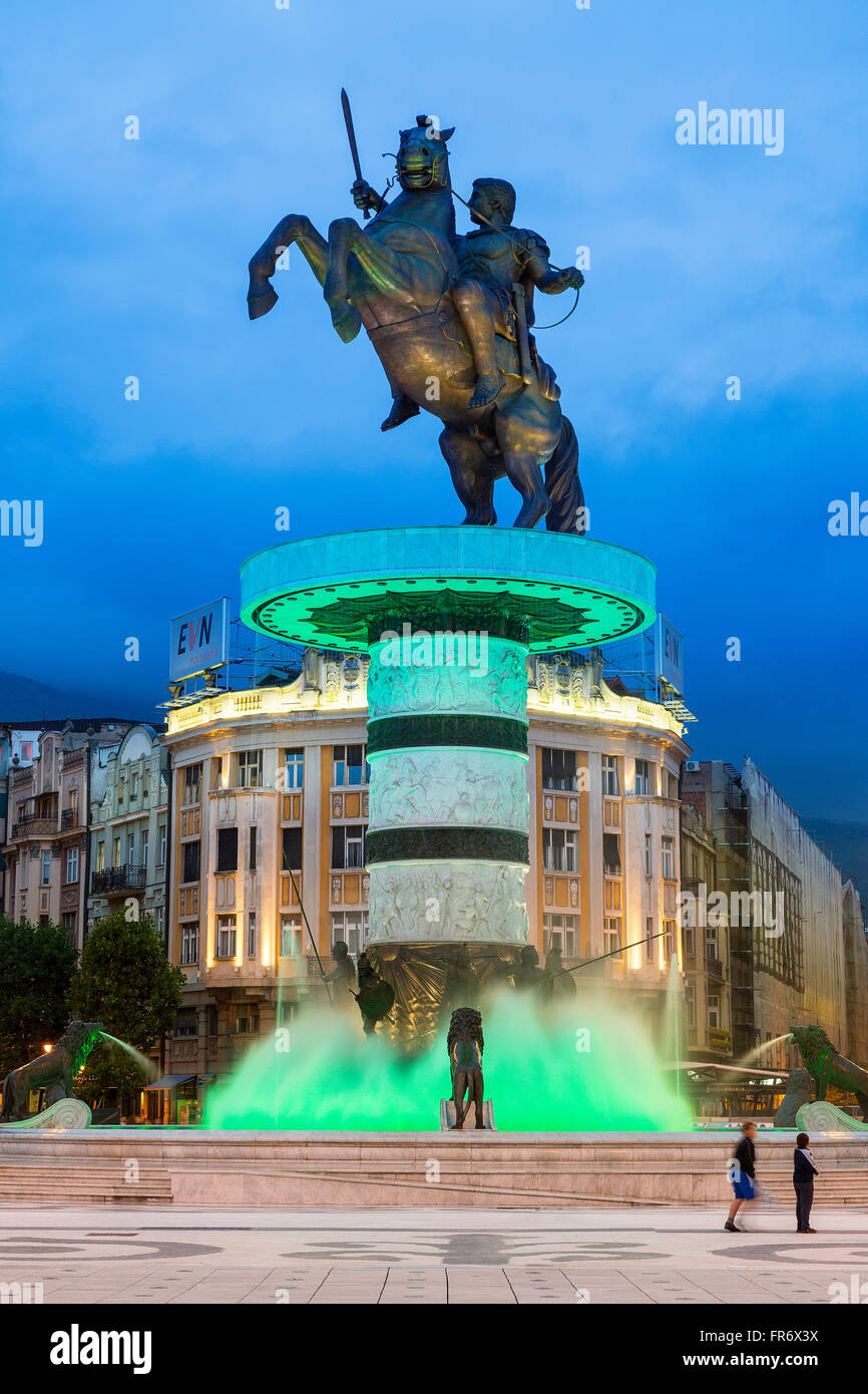 Republic of Macedonia, Skopje, downtown, Macedonia Square, the statue of Alexander the Great - Stock Image