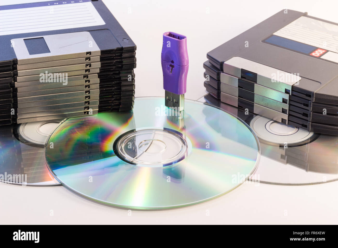 Progression of computer data storage media from floppy to USB flash stick through the DVD rom - Stock Image