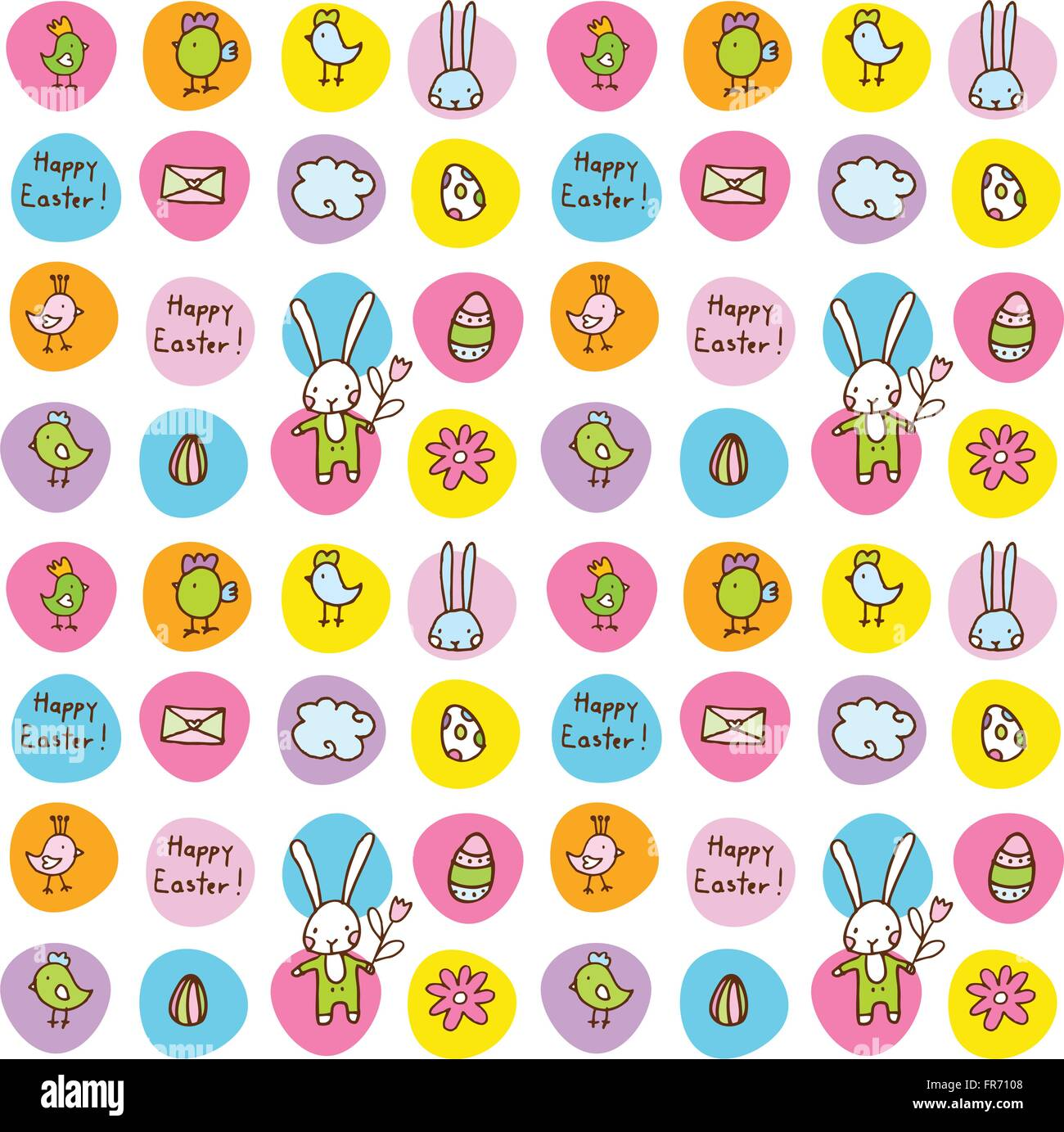 Colorful cute seamless patterns - Stock Vector