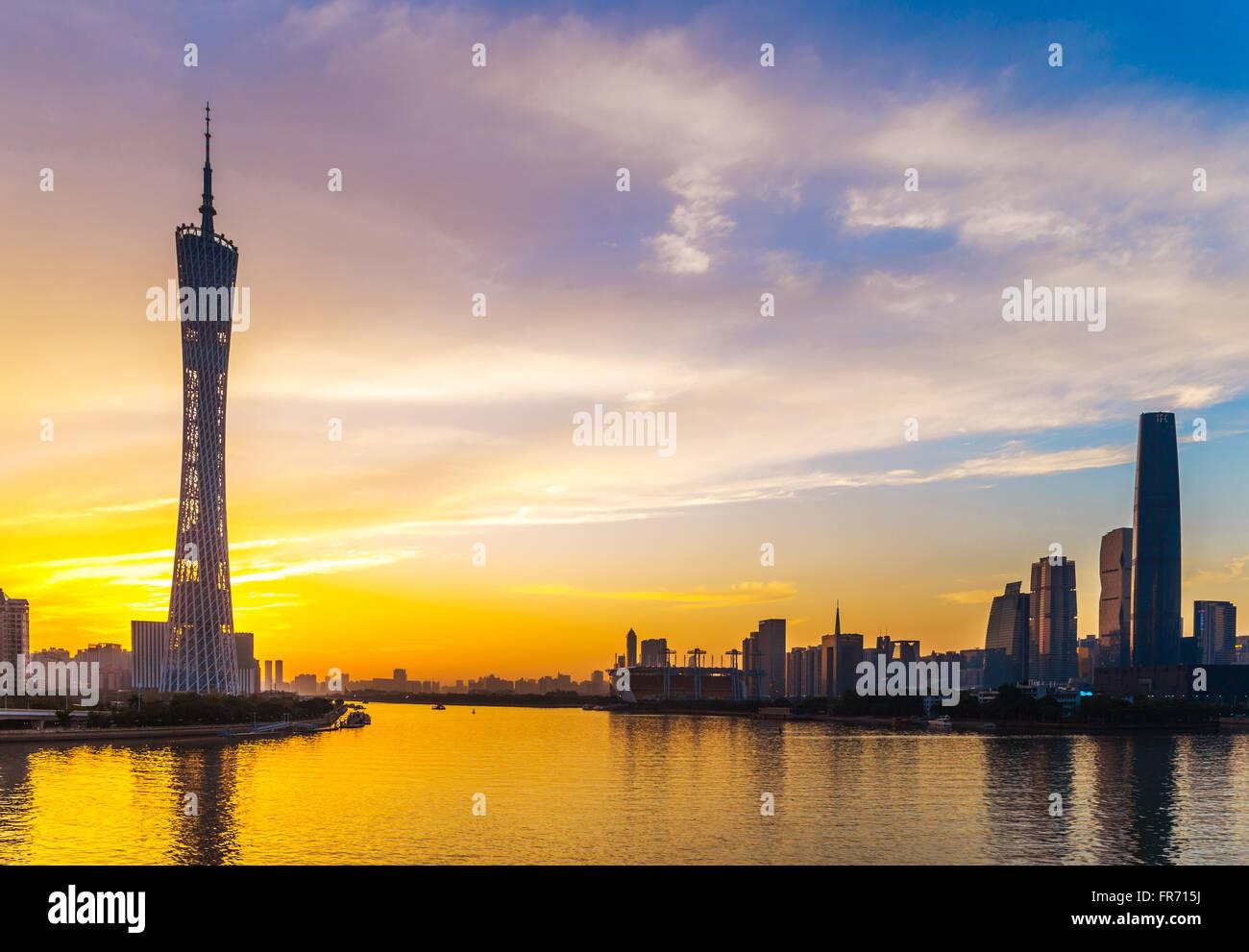 Sunset in Haixinsha, Guangzhou is very beautiful. - Stock Image