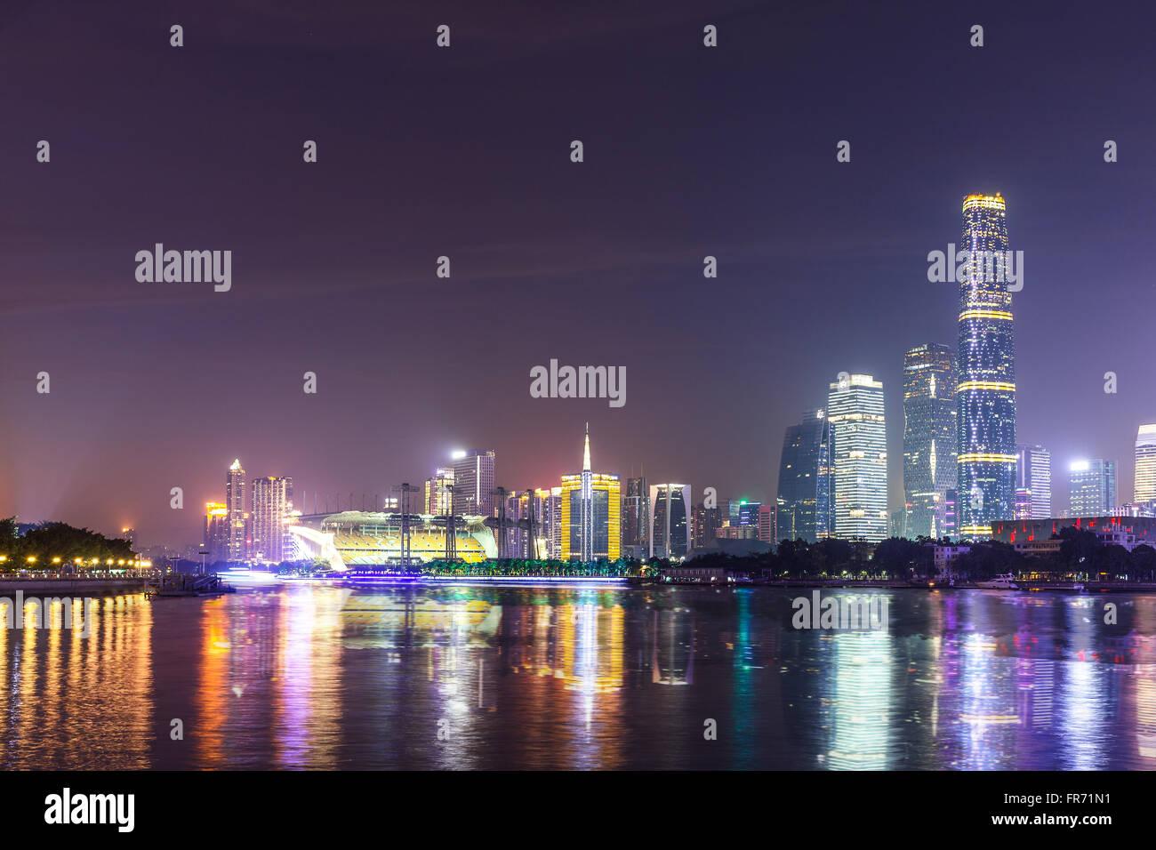 City, night, Guangzhou, Asia tower, CBD, unmanned, horizontal, Pearl River, Haixinsha, modern buildings, landmarks, - Stock Image