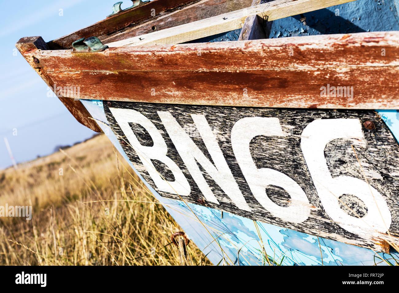 Boat vessel's registration number and validation decal Gibraltar Point Skegness Lincolnshire UK England BN66 - Stock Image