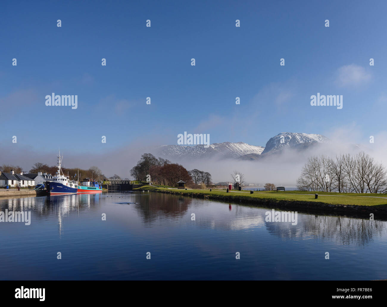 Scottish highland landscapes The Western End of the Caledonian Canal at Corpach Stock Photo