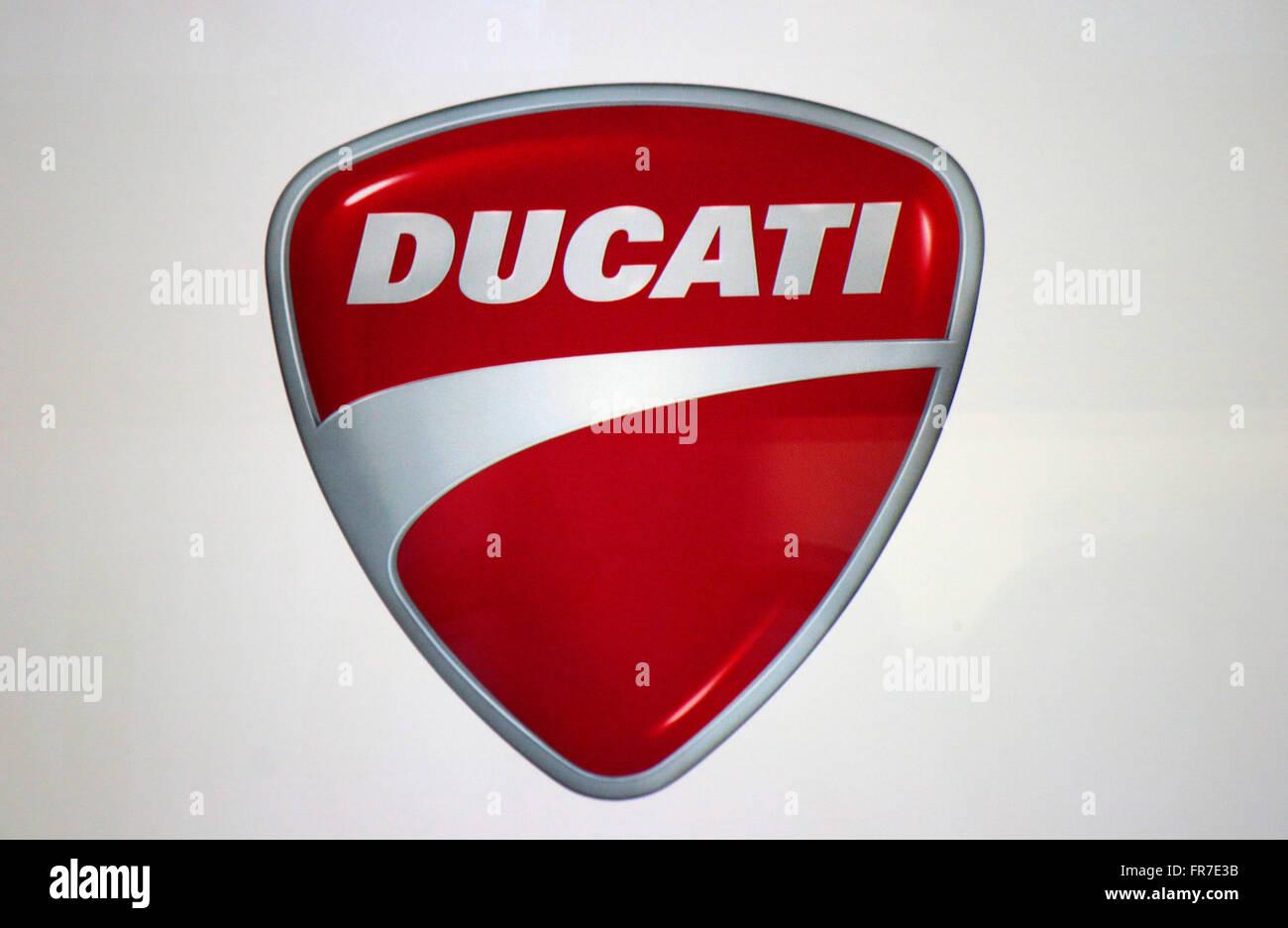 das Logo der Marke 'Ducati', Berlin. - Stock Image