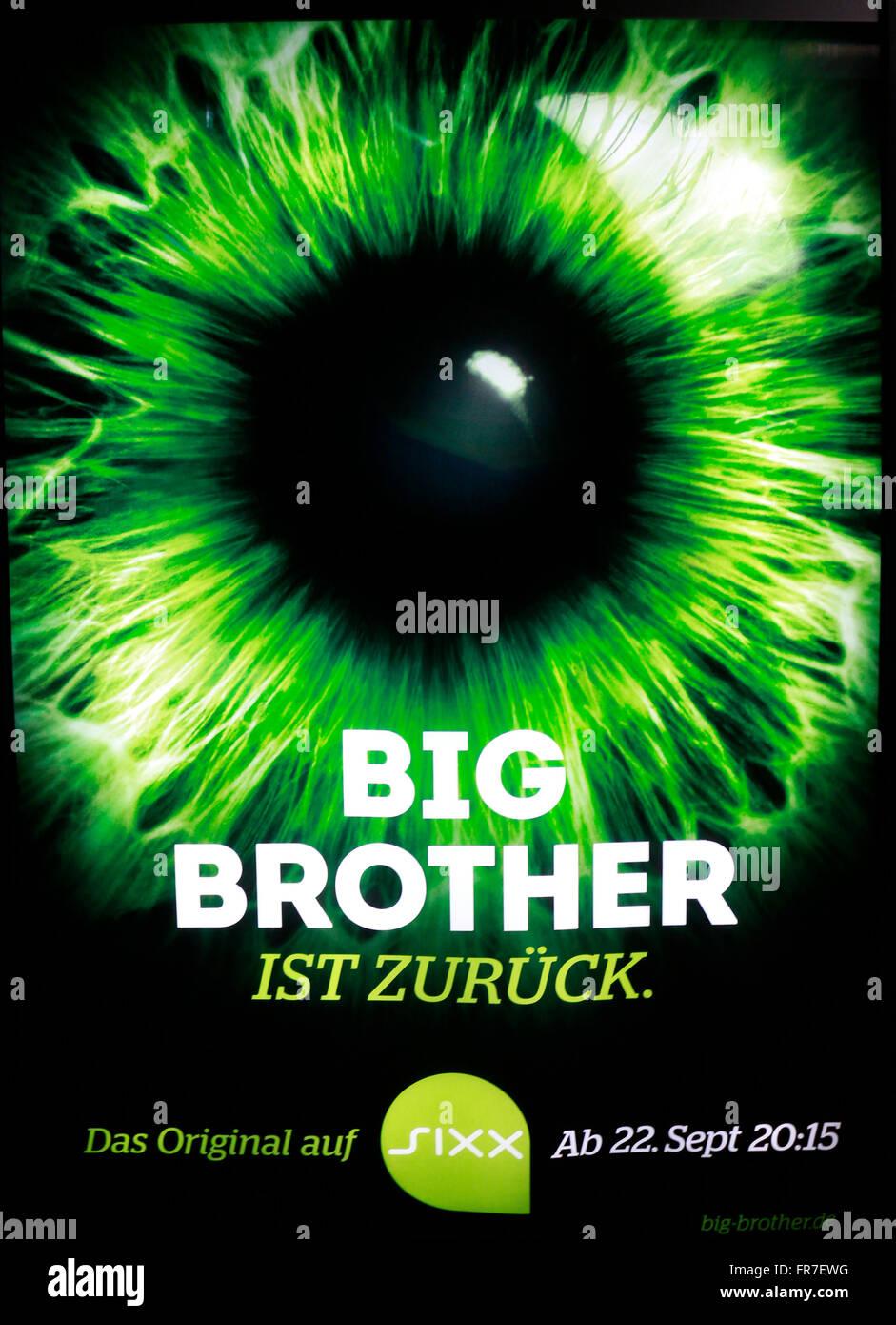 das Logo der Marke 'Big Brother' (sixx), Berlin. - Stock Image