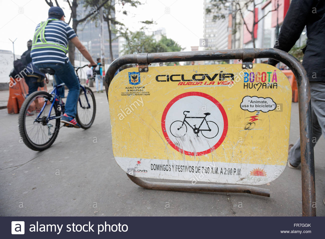 Bogota Colombia Ciclovia cycle route cordoned off through the city on certain days. - Stock Image