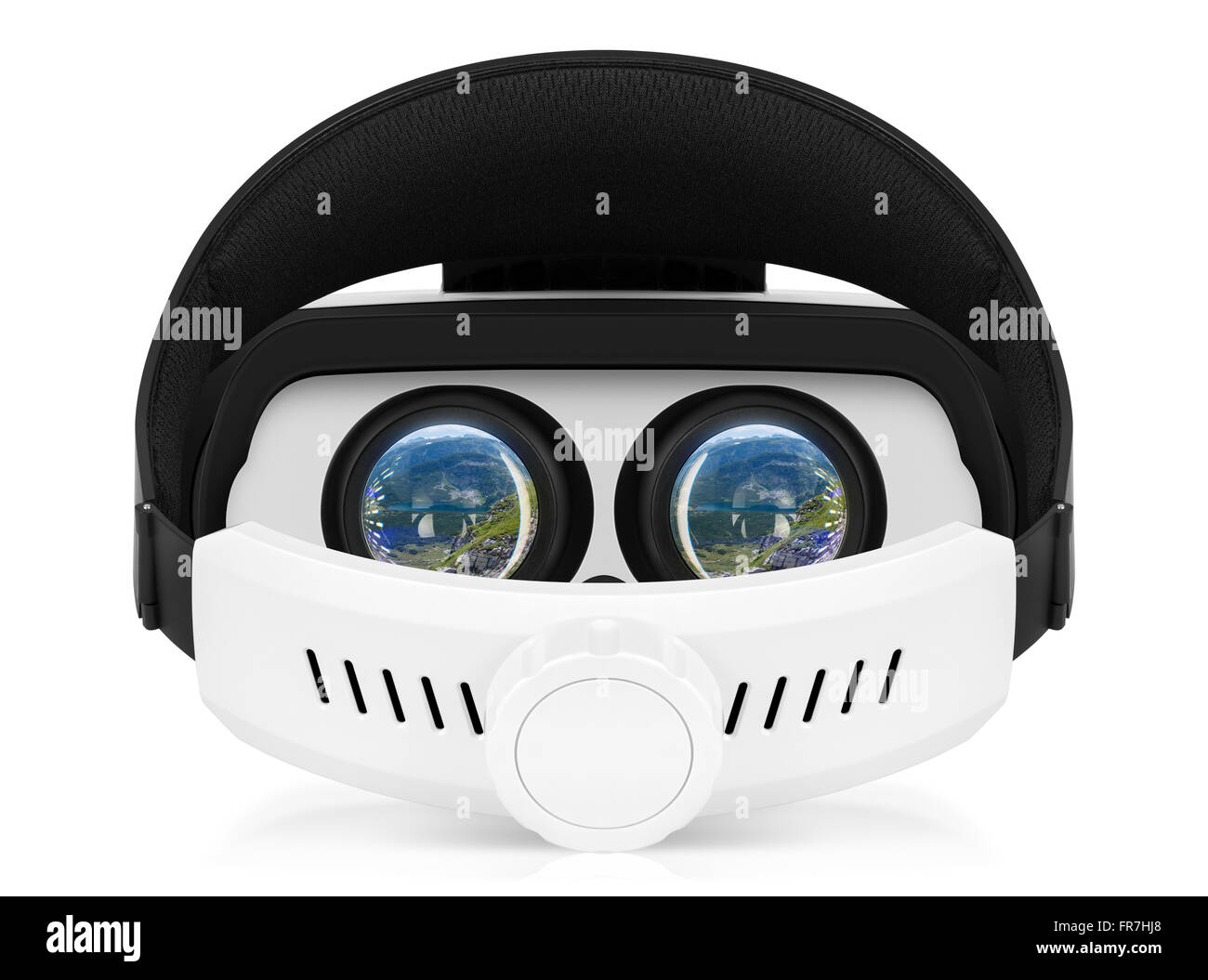 Back view of VR virtual reality headset with turns on displays. VR is an immersive experience. - Stock Image