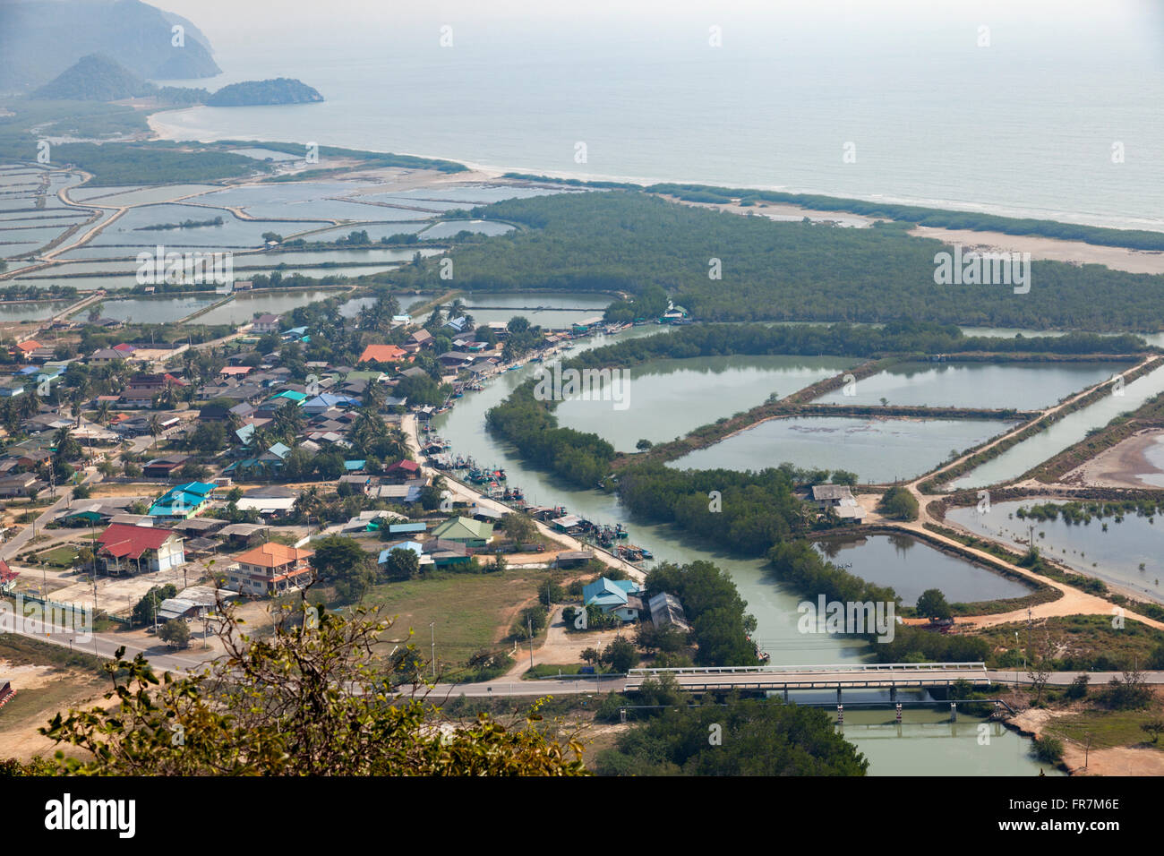 From the Khao Daeng vantage point, a view on part of the Khao Sam Roi Yot marine national park, prawn ponds and - Stock Image