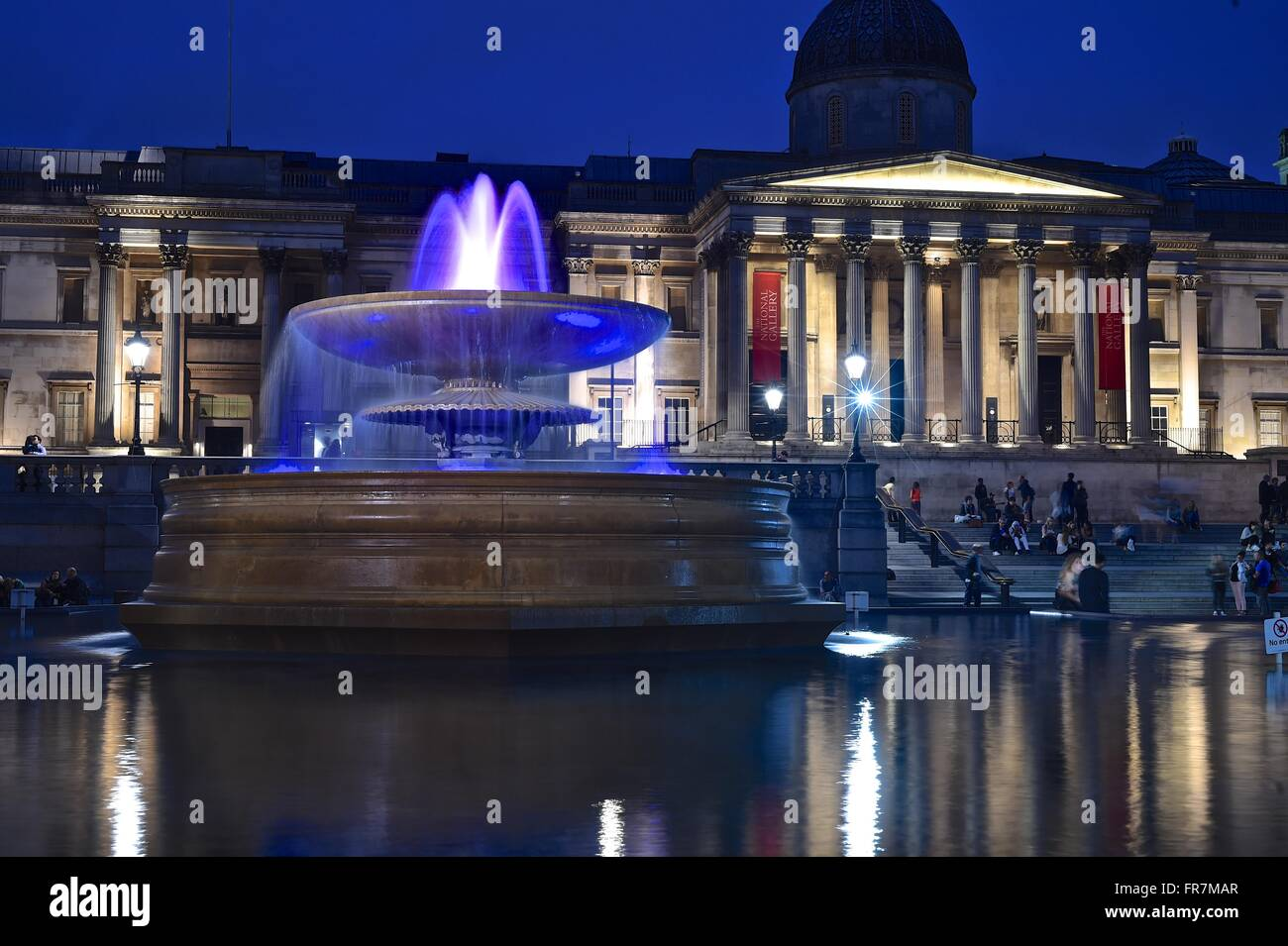 Fountains outside national gallery in Trafalgar Square, London England - Stock Image
