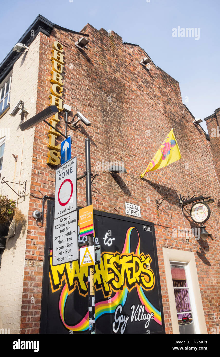 Sign saying 'Welcome to Manchester`s Gay village'. Canal street, Manchester, England. UK - Stock Image