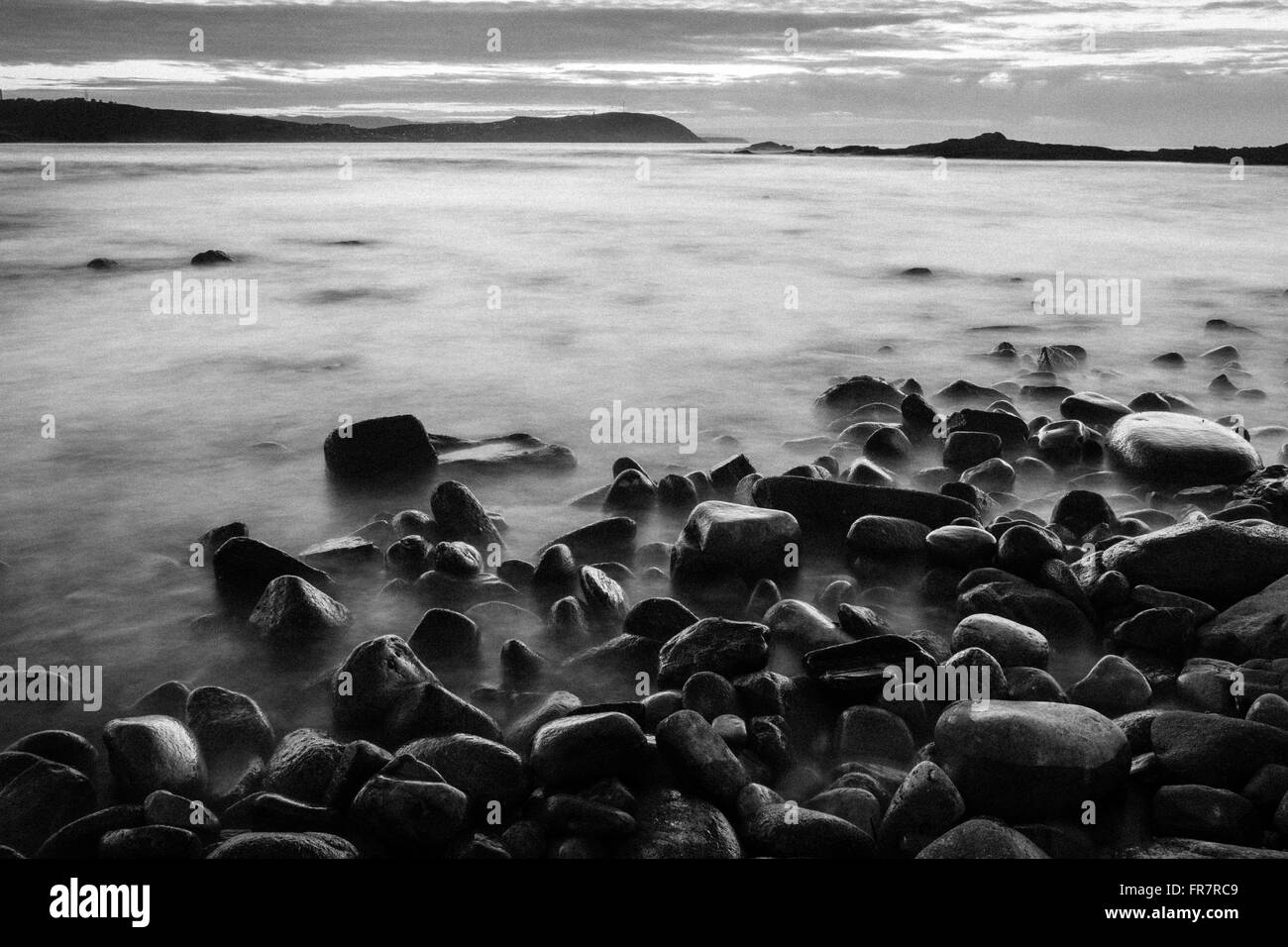 Images taken in galician coast (Spain) at sunset. Zone of Bens near the city of A Coruña, Galicia, Spain. - Stock Image