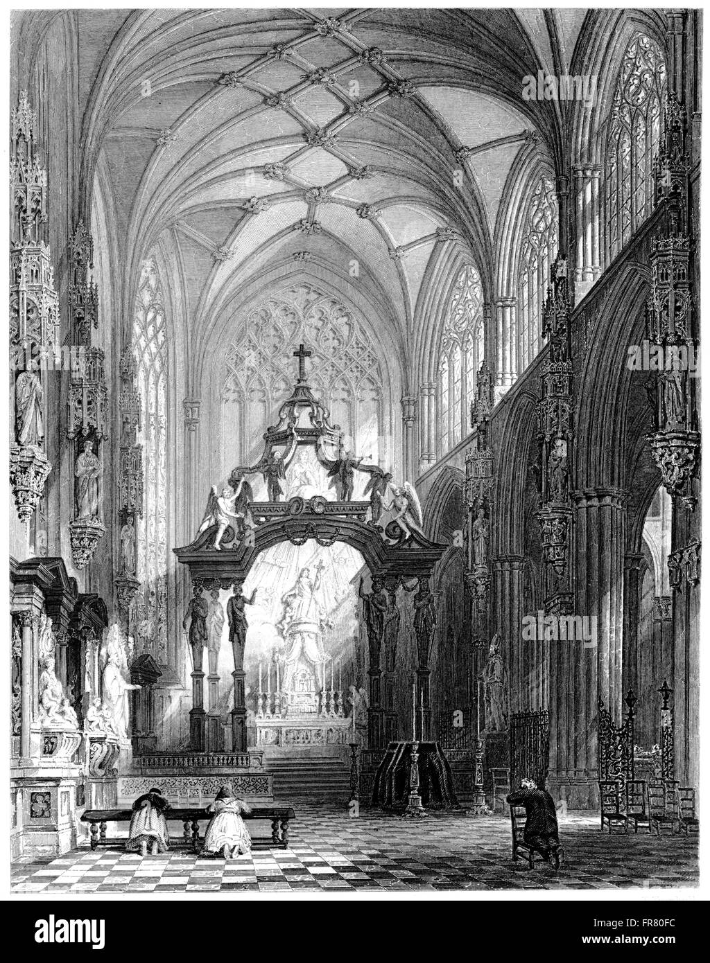 Engraving of the Chapel of St Gudule, Brussels scanned at high resolution from a book printed in 1876. Believed Stock Photo