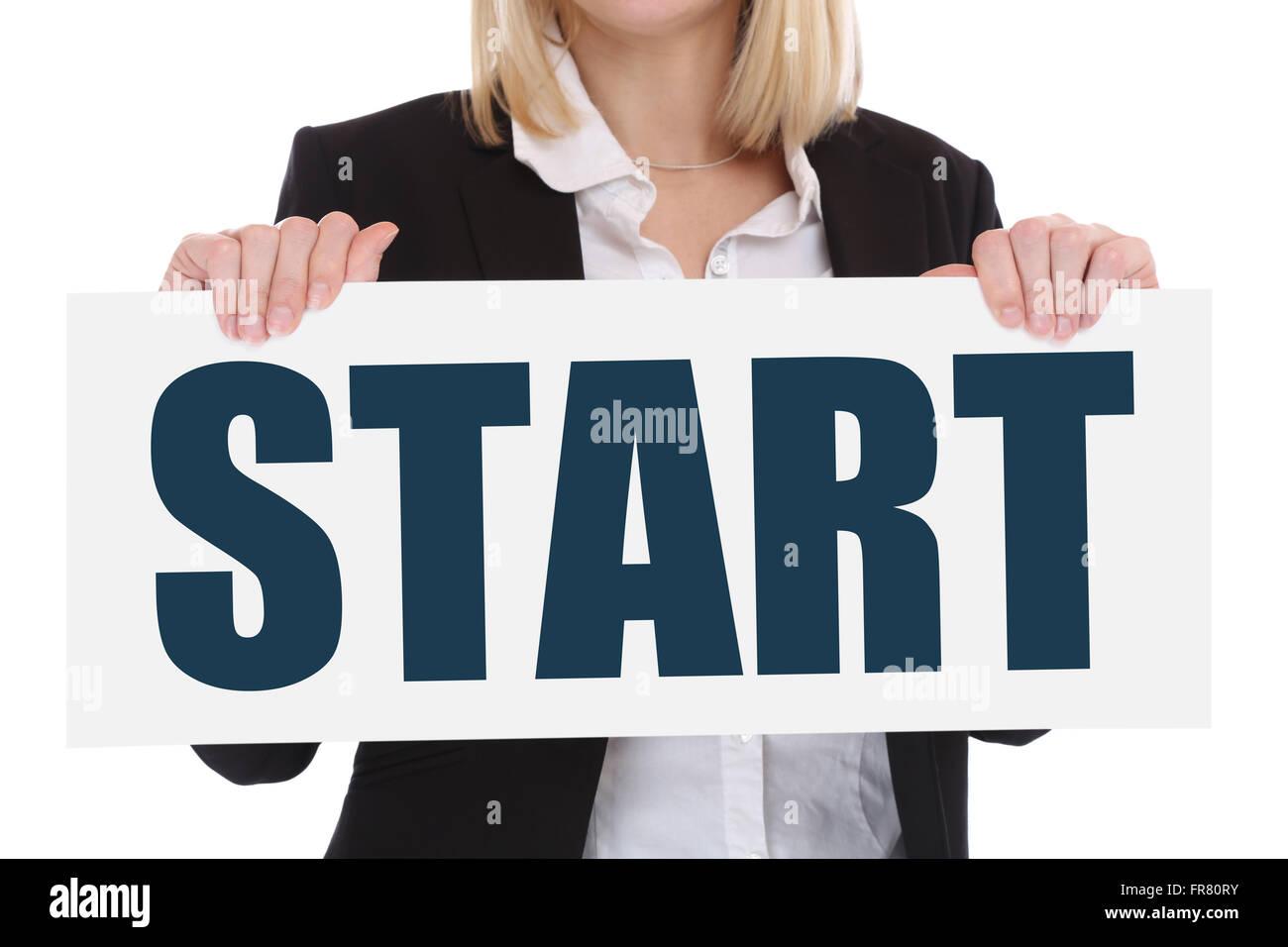 Start starting begin beginning business concept career goals motivation vision - Stock Image