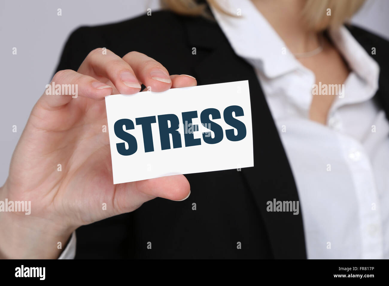 Stress stressed business woman burnout at work concept relaxed - Stock Image