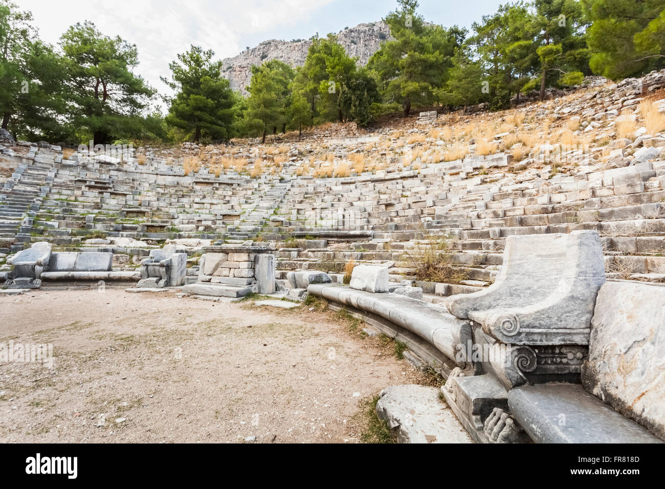 Ruins of an amphitheatre; Priene, Turkey Stock Photo