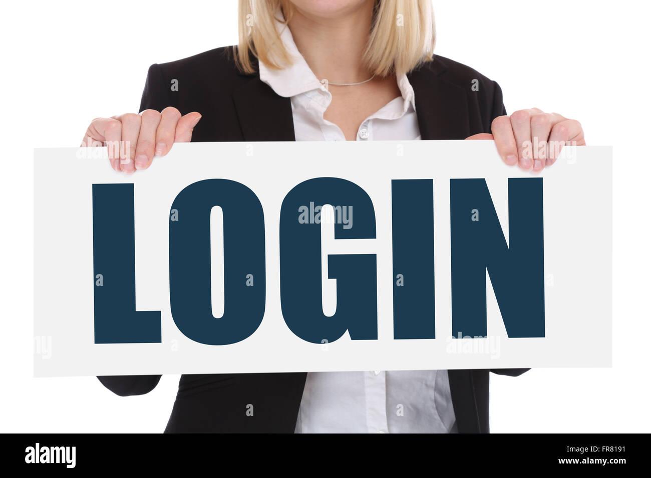 Login register password internet security computer business concept register online - Stock Image