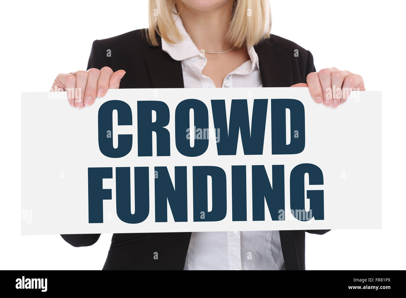 Crowd funding crowdfunding collecting money online investment internet business concept financial campaign - Stock Image