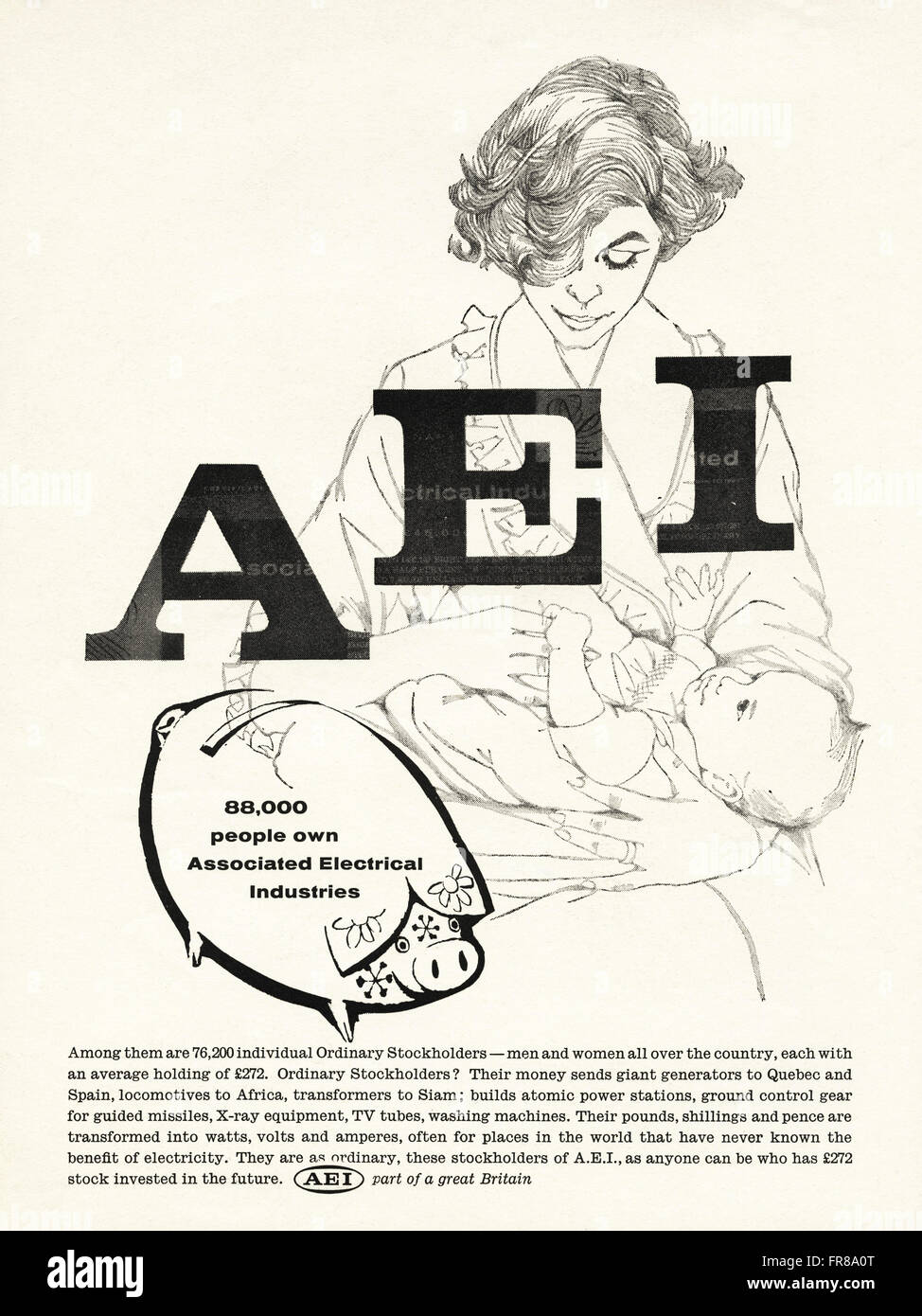 Original vintage advert from 1950s. Advertisement dated 1959 advertising AEI ASSOCIATED ELECTRICAL INDUSTRIES. - Stock Image