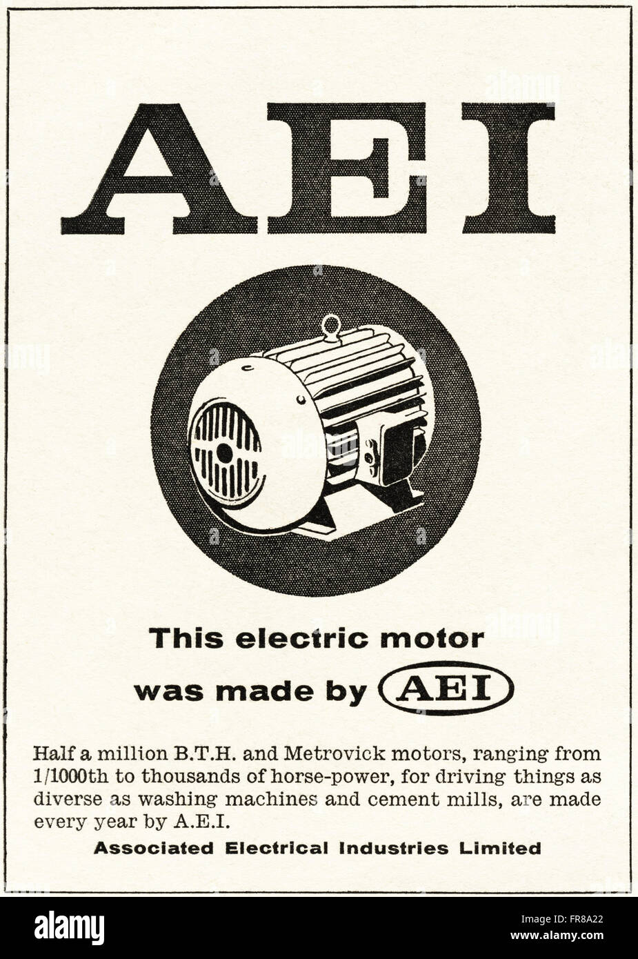 Original vintage advert from 1950s. Advertisement dated 1959 advertising AEI ASSOCIATED ELECTRICAL INDUSTRIES electric - Stock Image