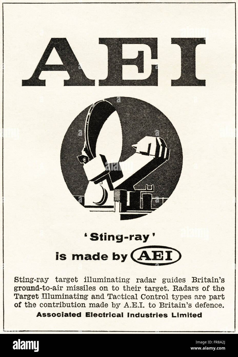 Original vintage advert from 1950s. Advertisement dated 1959 advertising AEI ASSOCIATED ELECTRICAL INDUSTRIES Sting - Stock Image
