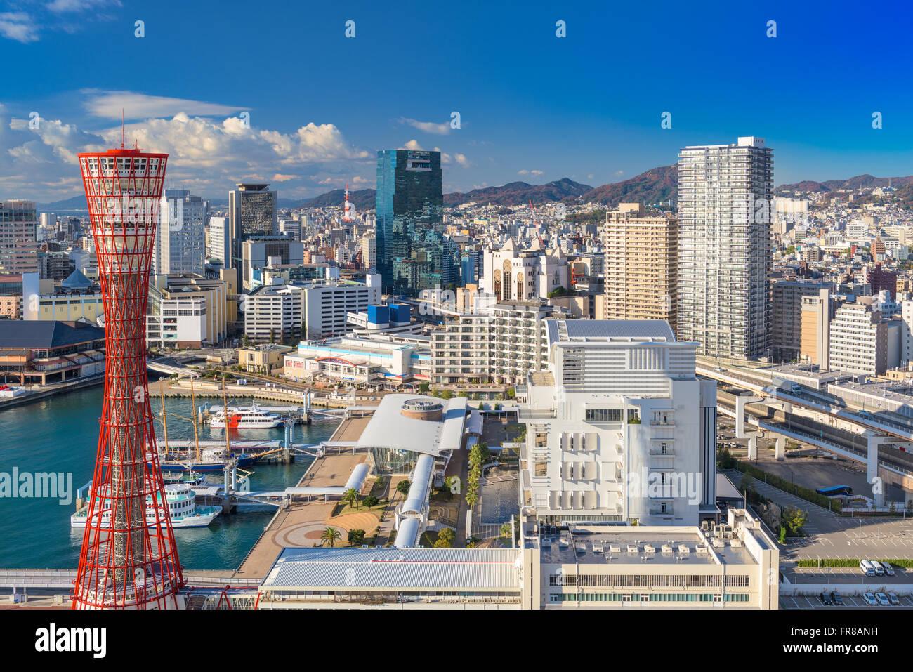 Kobe, Japan harbor skyline. - Stock Image