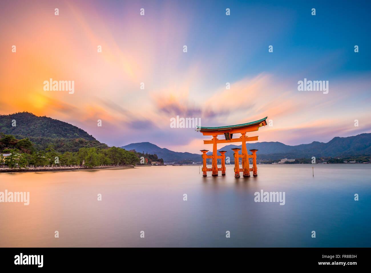 Miyajima, Hiroshima, Japan at the floating gate of Itsukushima Shrine. - Stock Image