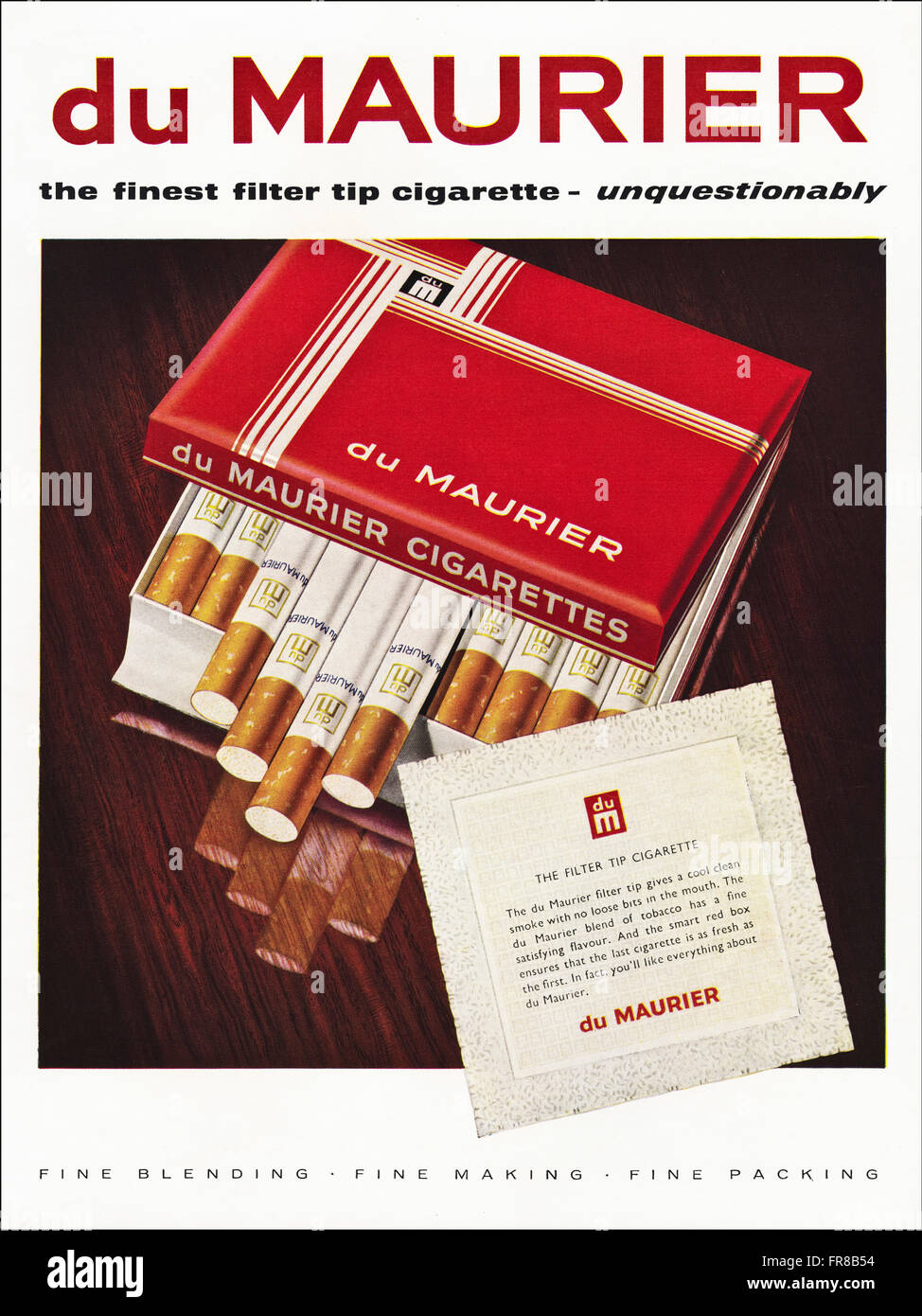 Original vintage full page colour advert from 1950s. Advertisement dated 1959 advertising DU MAURIER filter tip - Stock Image