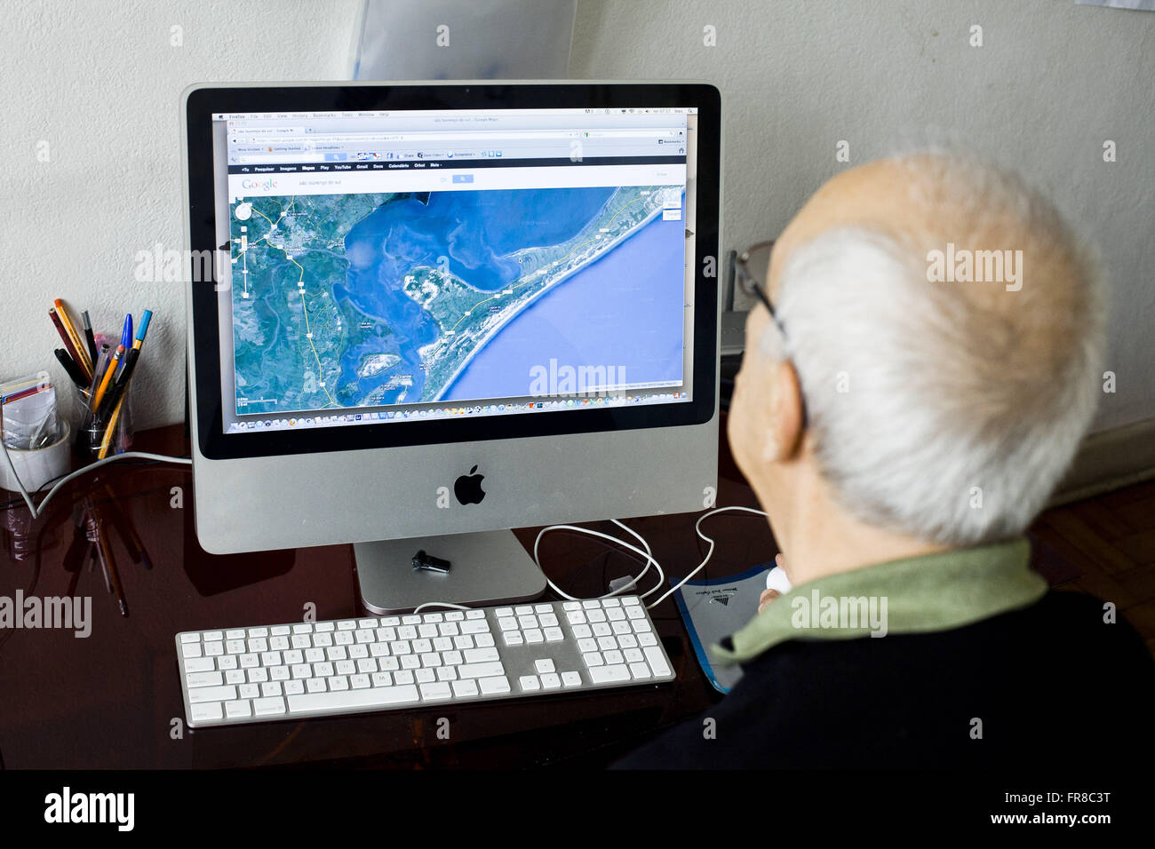 Old map viewing on computer Stock Photo
