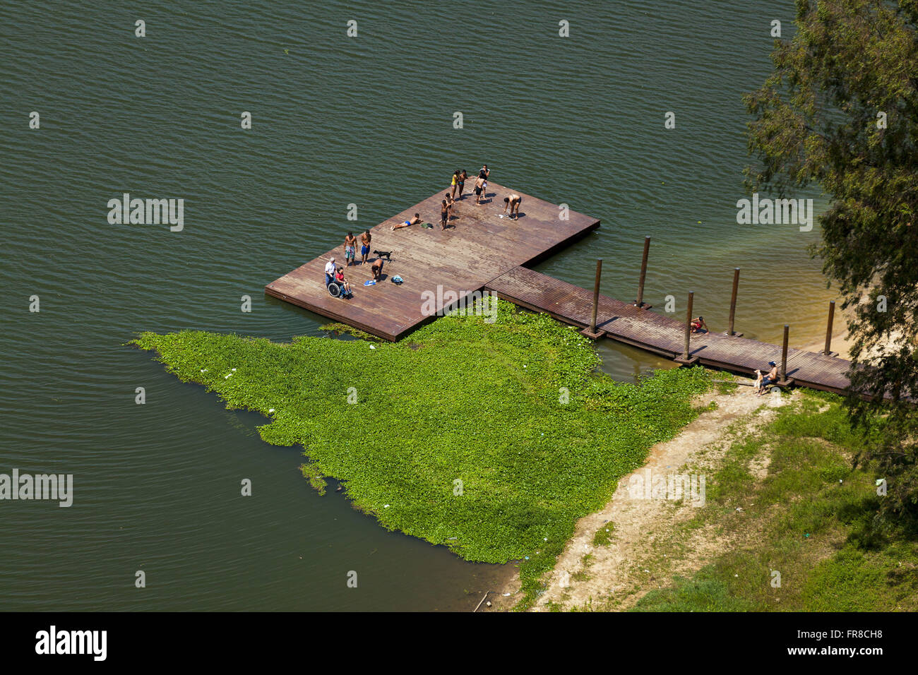 Deck for leisure living in the urbanized area of the Watershed Program Stock Photo