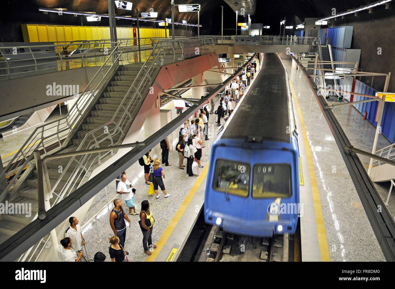 Inside the subway station of the city of Rio de Janeiro - Stock Image