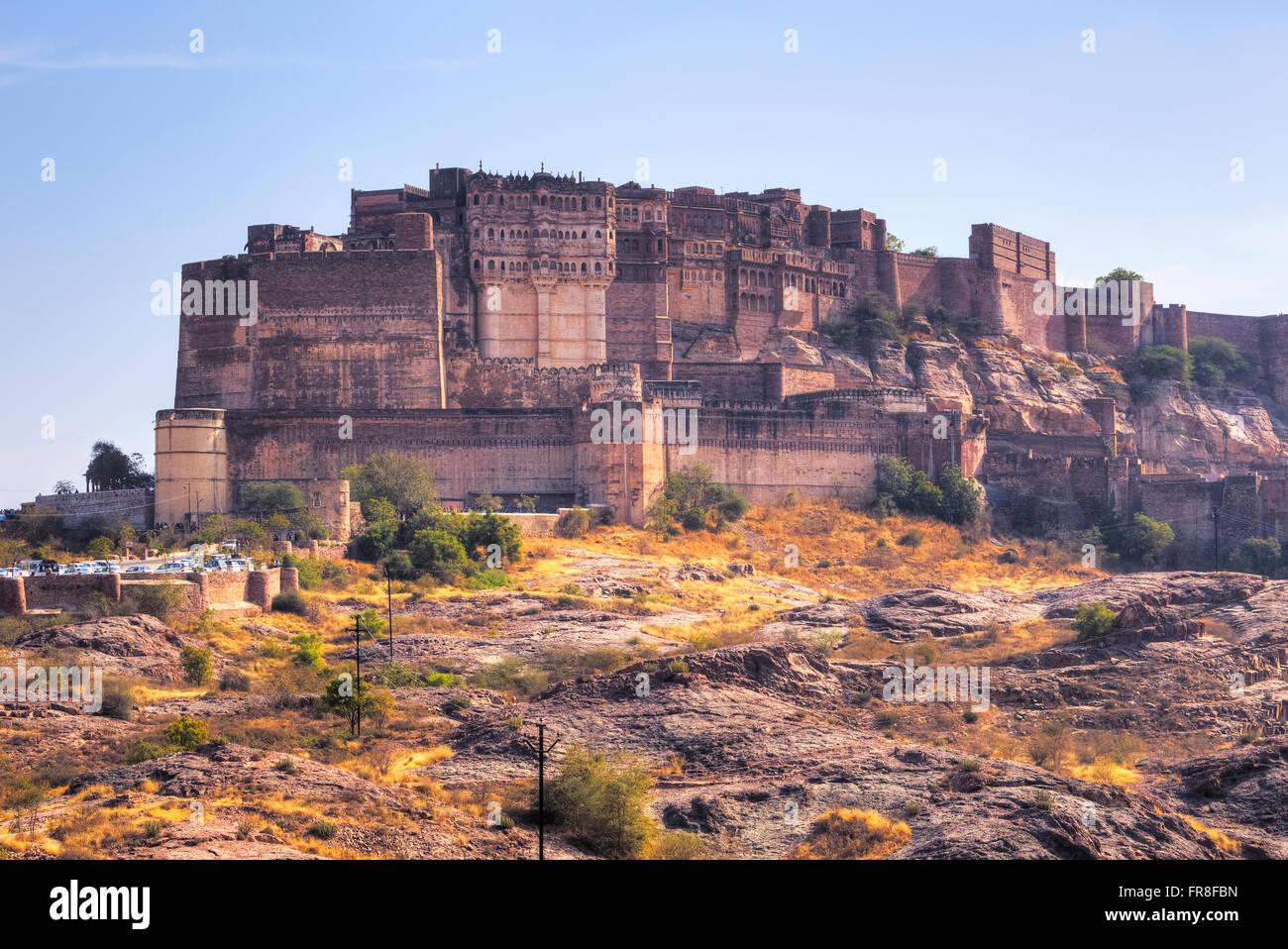 Mehrangarh Fort, Jodhpur, Rajasthan, India, Asia - Stock Image